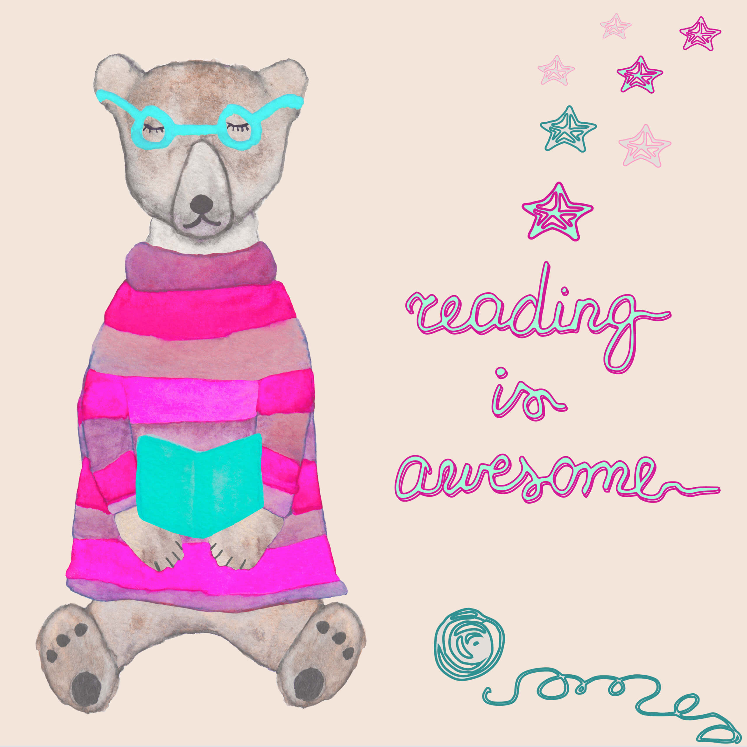cartoon reading bear